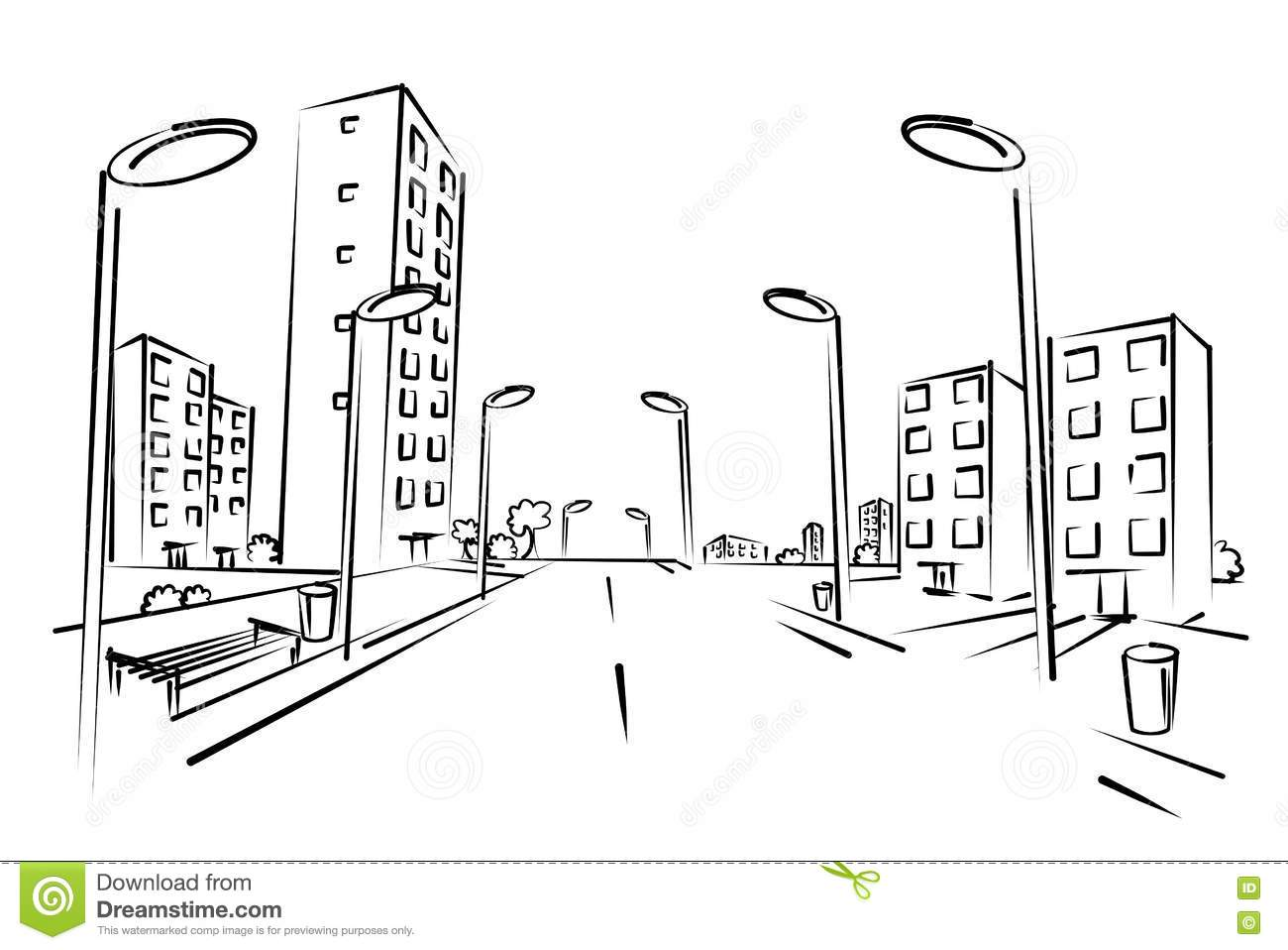 Sketch Of City Street Stock Vector Illustration Of