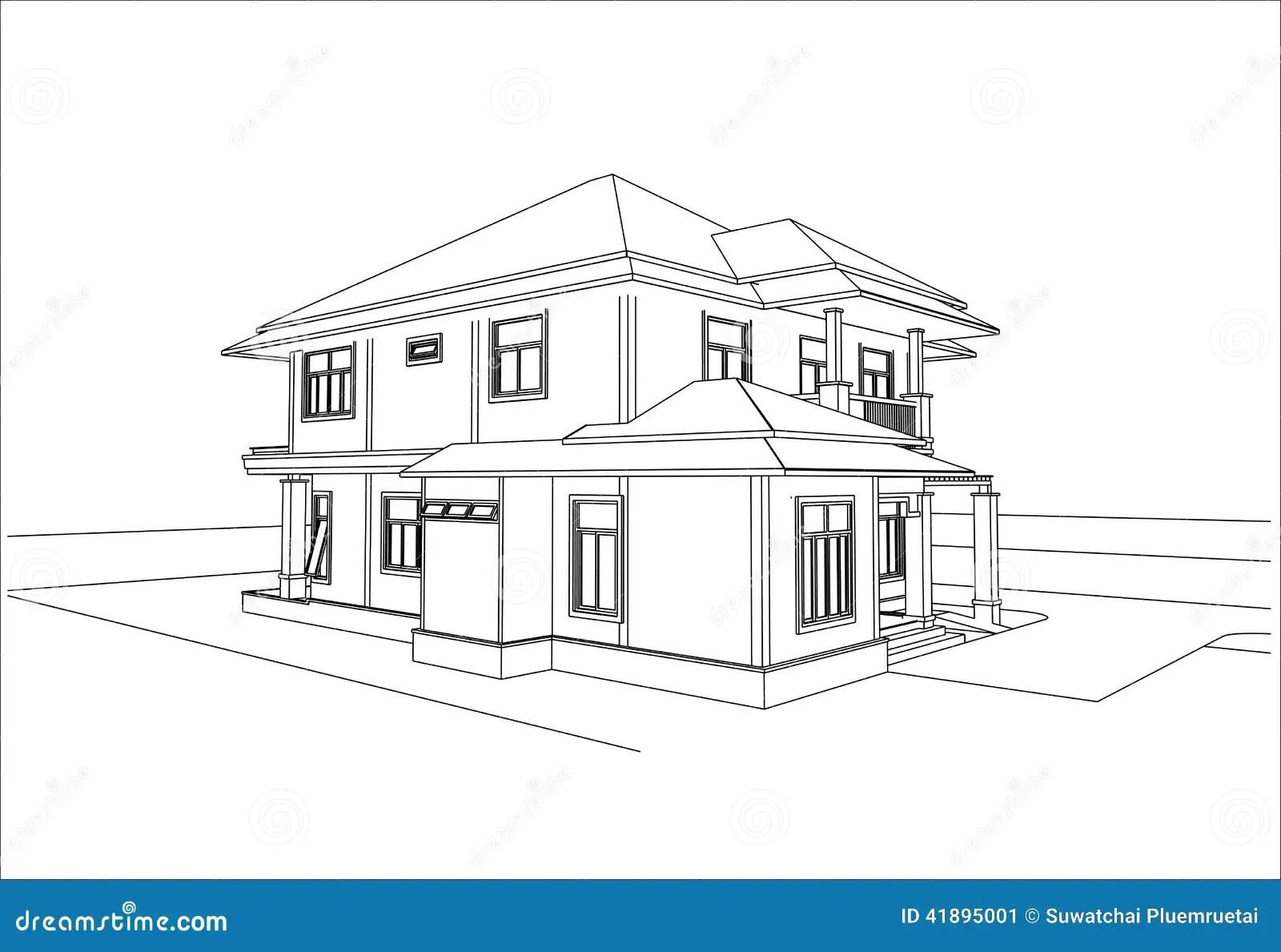 Sketch Design Of House Vector Stock Vector