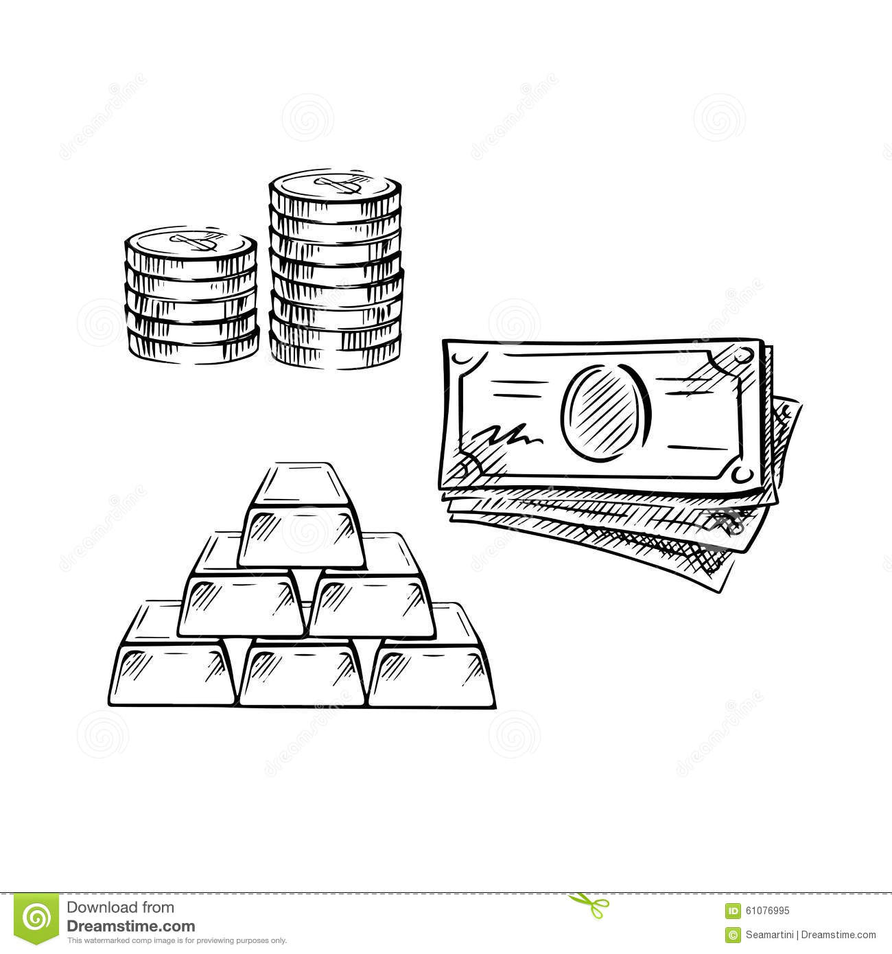 Sketch Of Dollar Bills Coins And Gold Bars Stock Vector