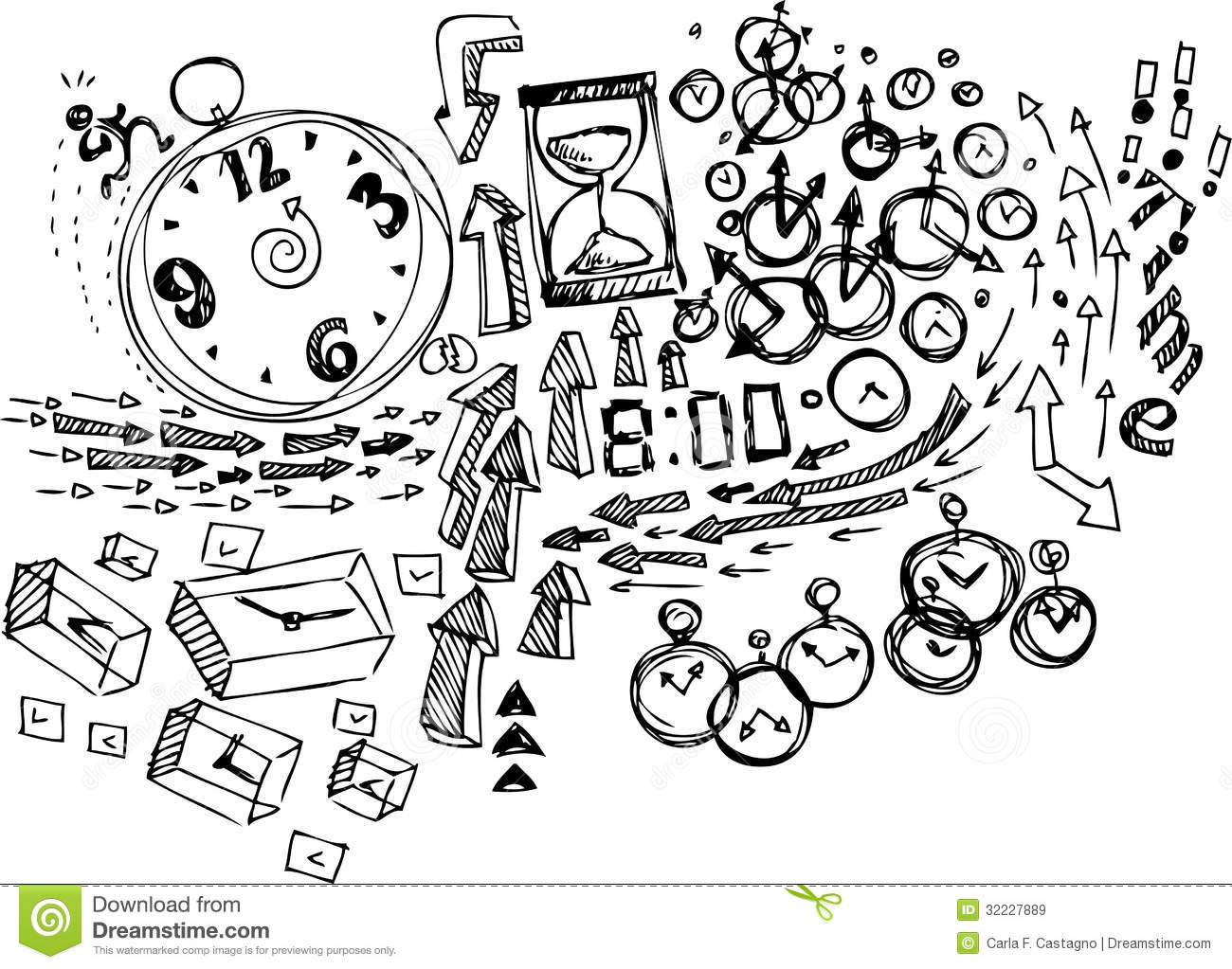 Coloring Sketch Doodles Time Stock Vector