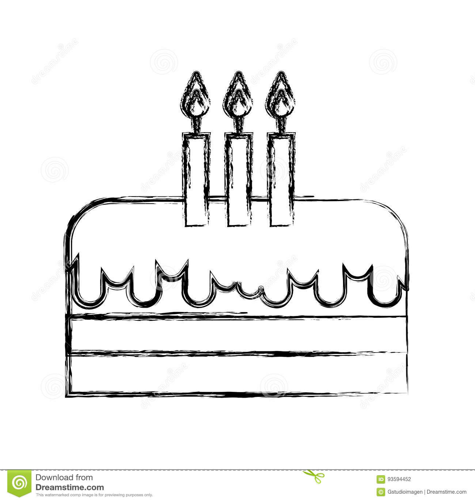 Sketch Draw Birthday Cake Cartoon Stock Vector Illustration Of Confetti Chocolate 93594452