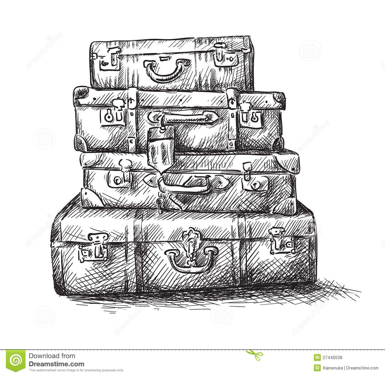 Sketch Drawing Of Luggage Bags Royalty Free Stock Photos