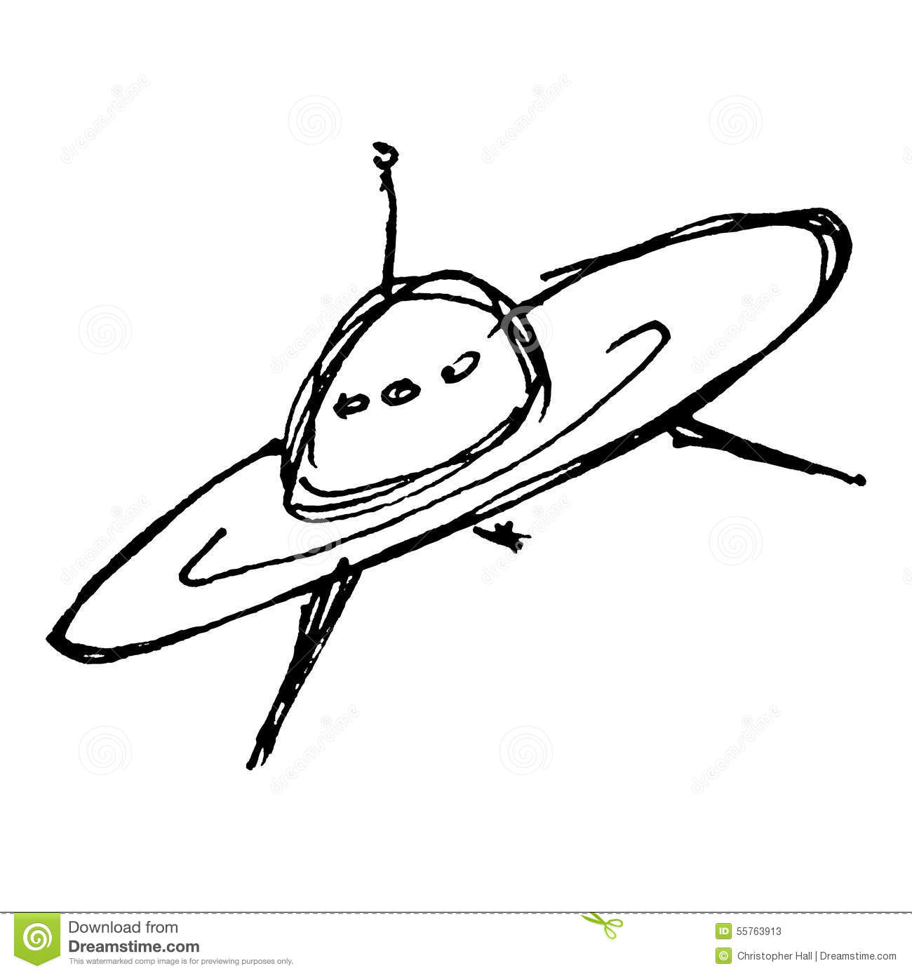 Sketch Drawing Of A Spaceship Stock Vector