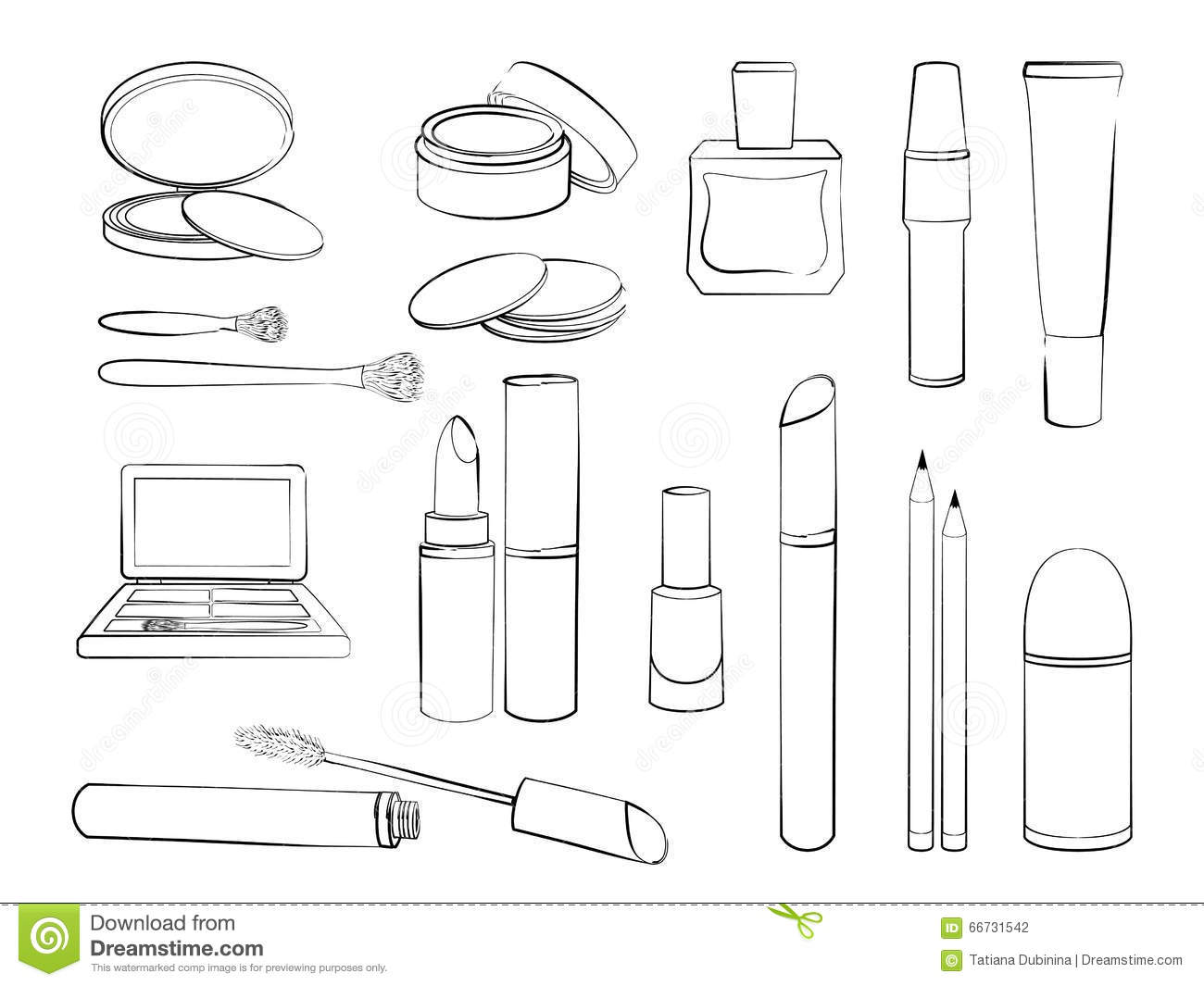 Sketch Of Elements For Make Up Isolated On White