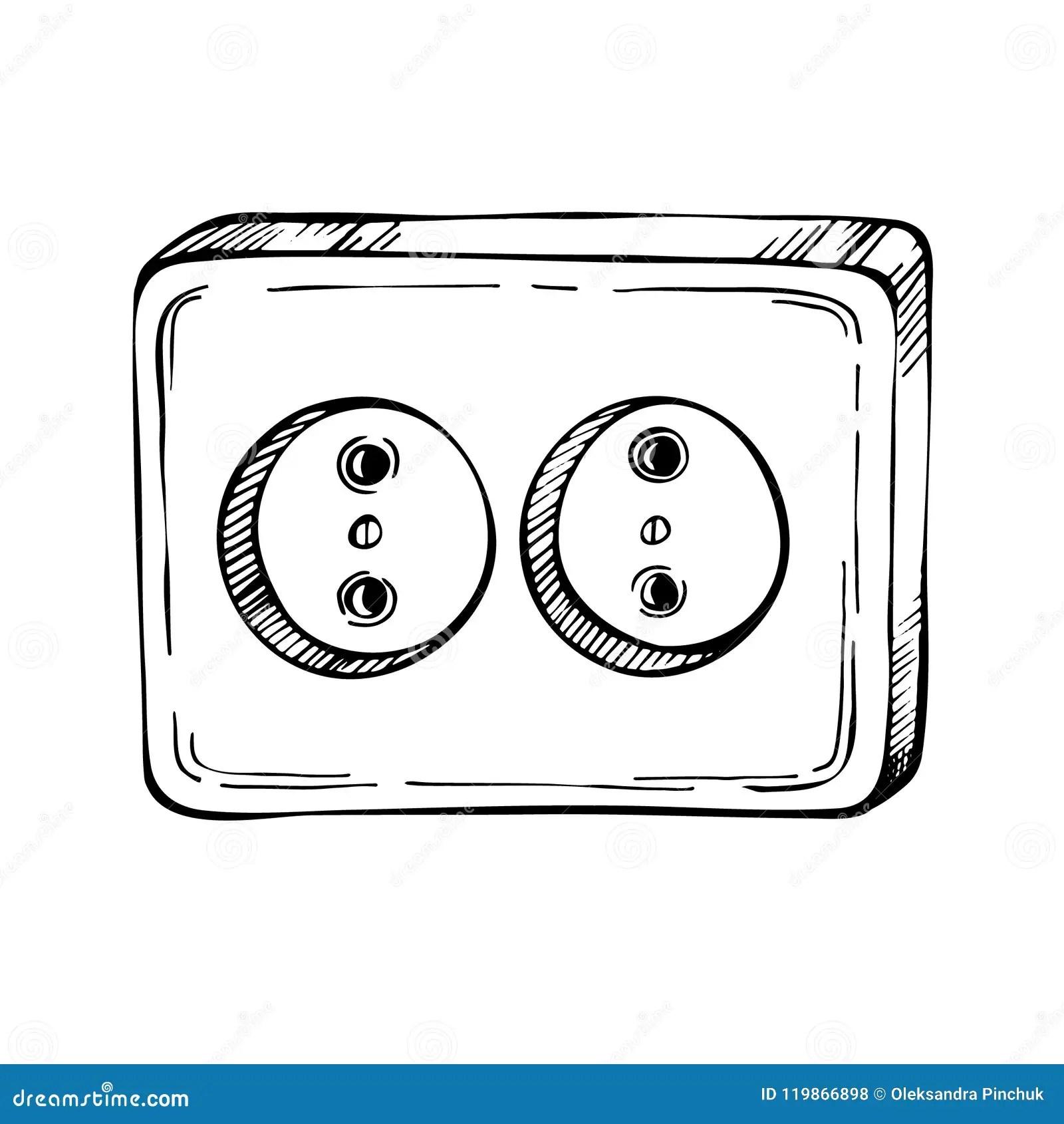 Sketch Empty Electric Socket Cartoon Hand Drawn