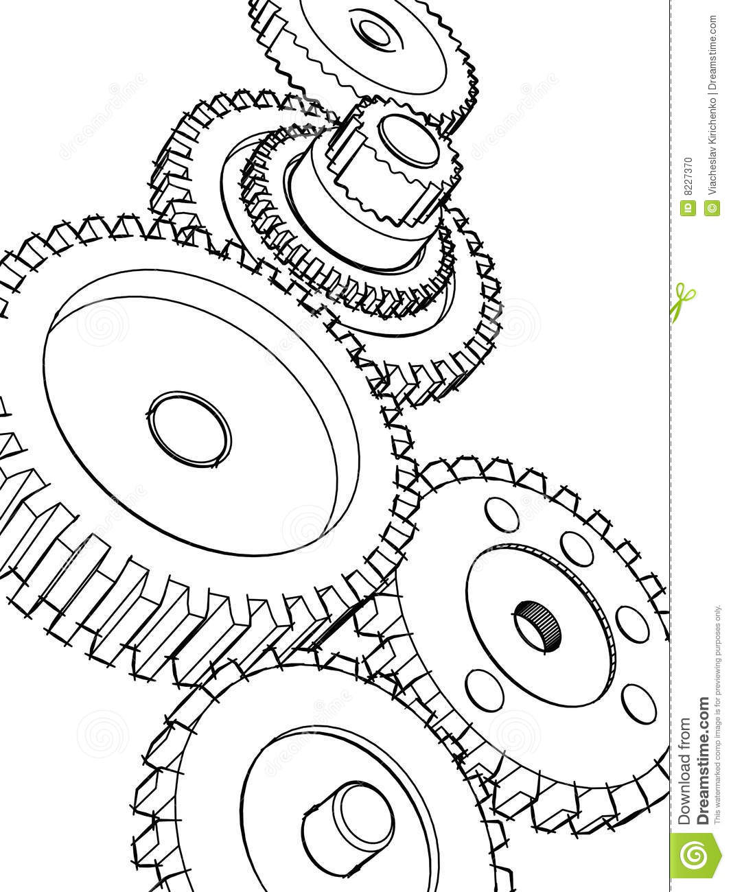 Sketch Gears Stock Illustration Image Of Circle
