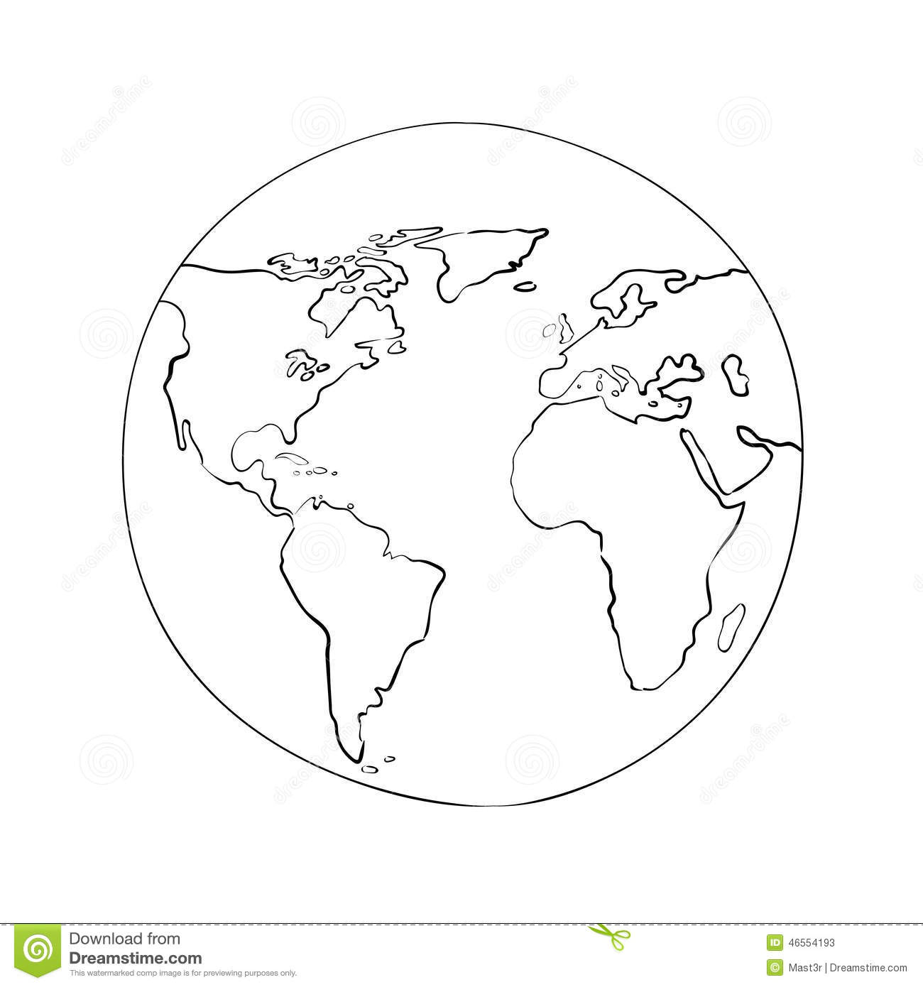 Sketch Globe World Map Black Vector Illustration Stock Vector