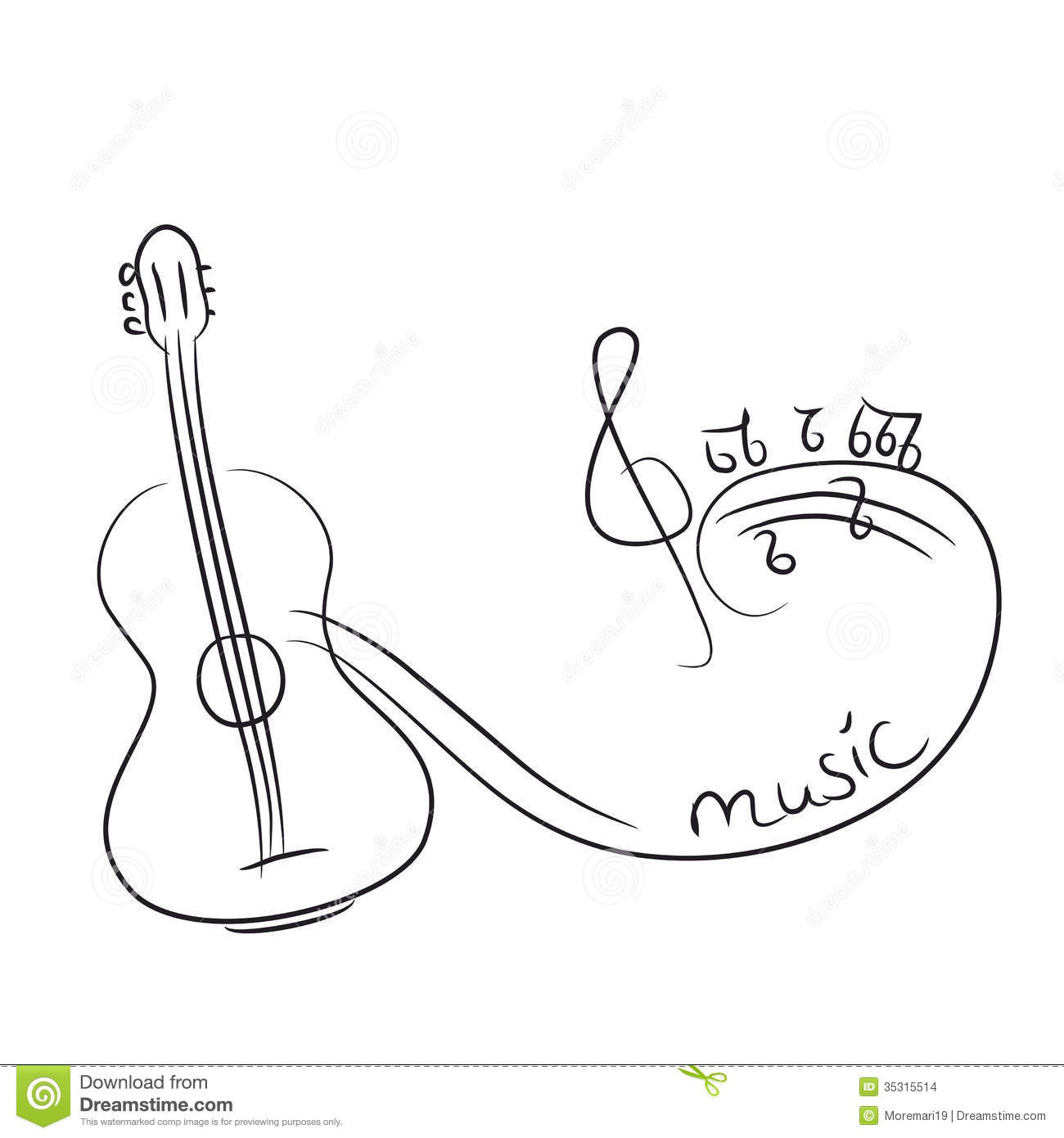 Sketch Of A Guitar With Notes Stock Vector