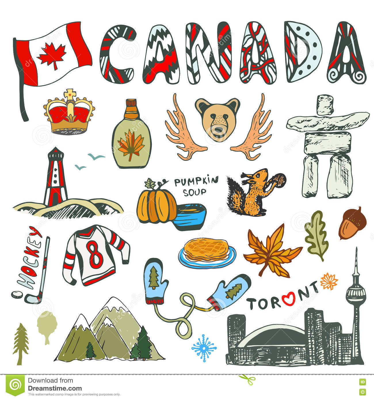 Sketch Hand Drawn Collection Of Canada Symbols Canadian