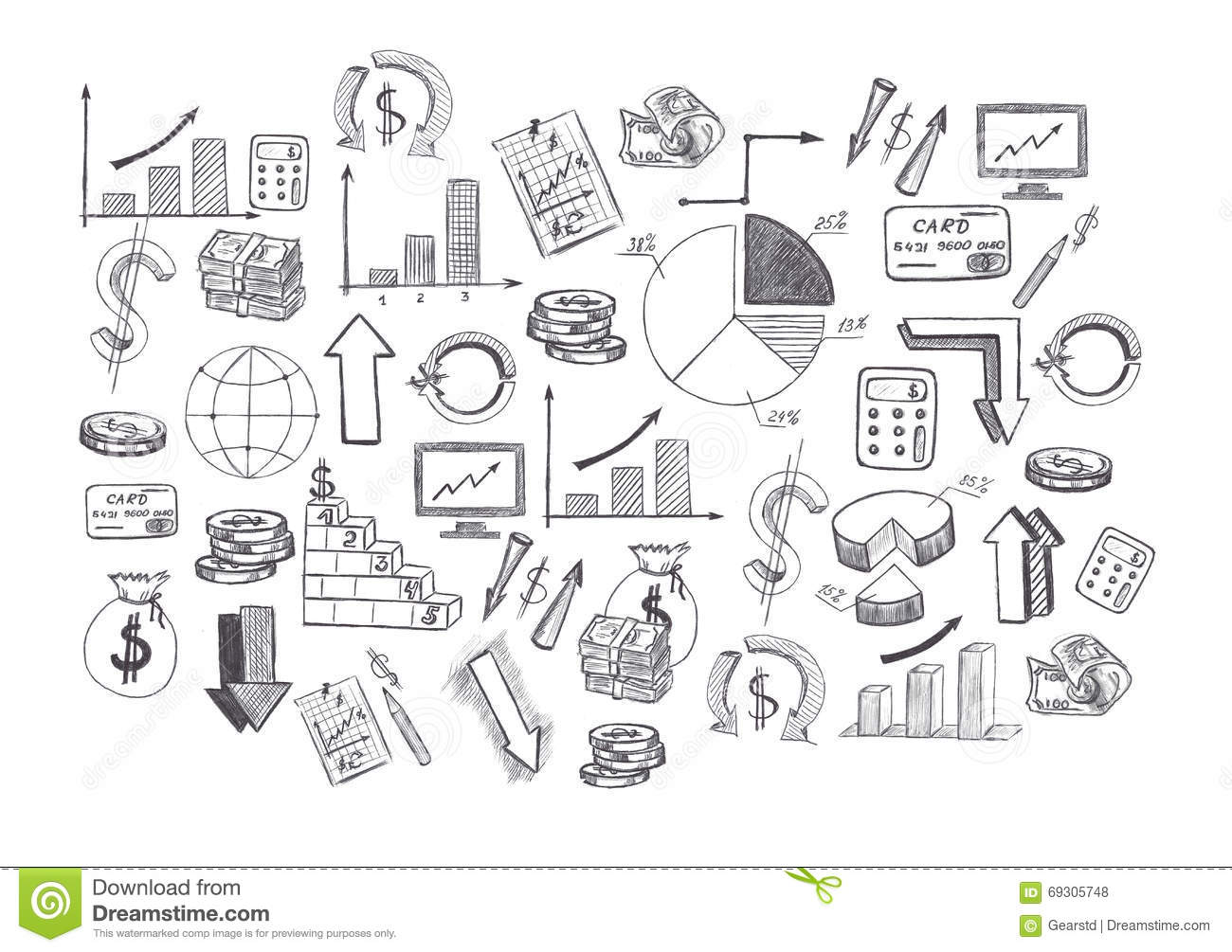 Drawing Graphics Growing Graph Stock Image