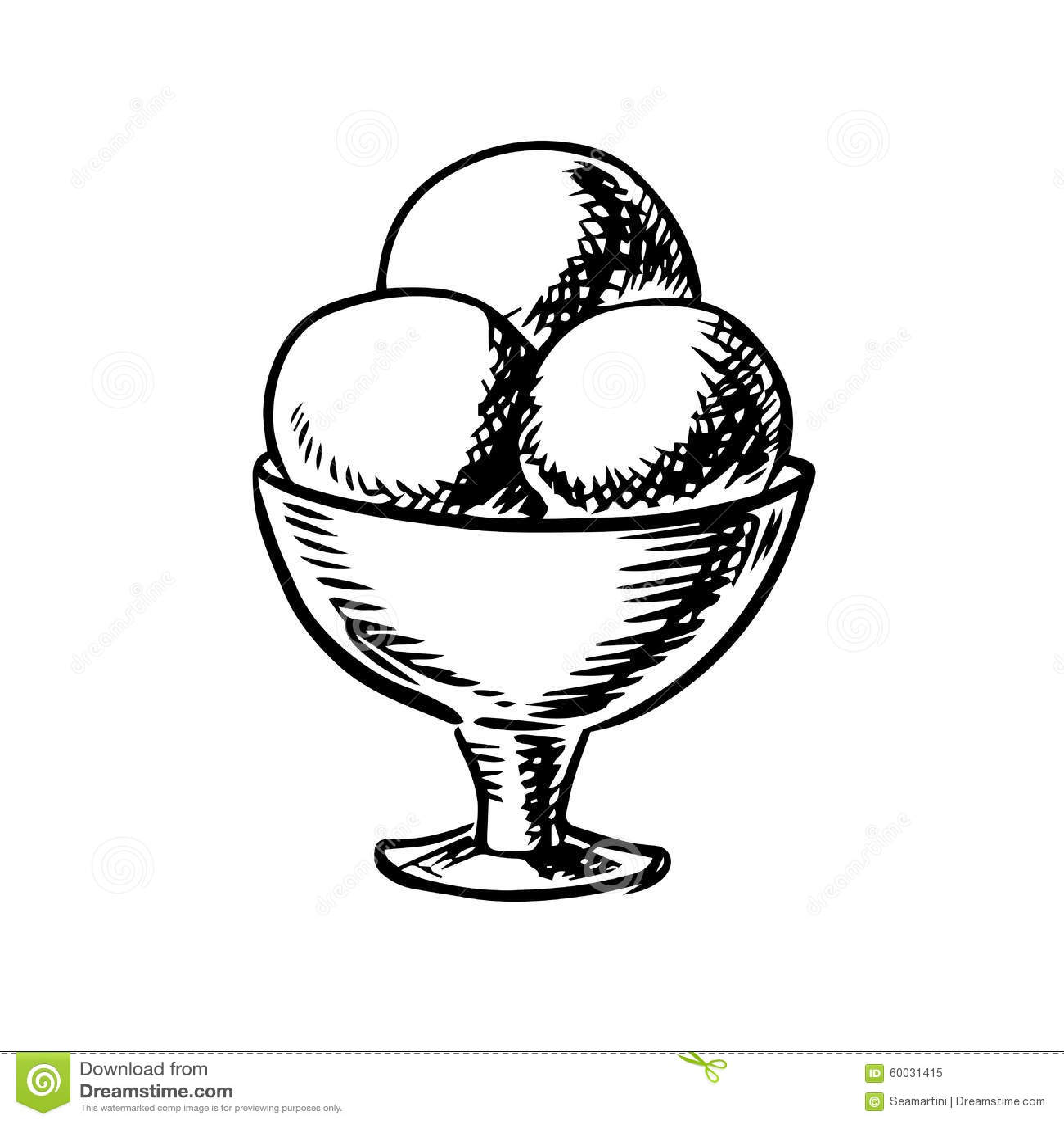 Sketch Of Ice Cream Scoops In Sundae Bowl Stock Vector