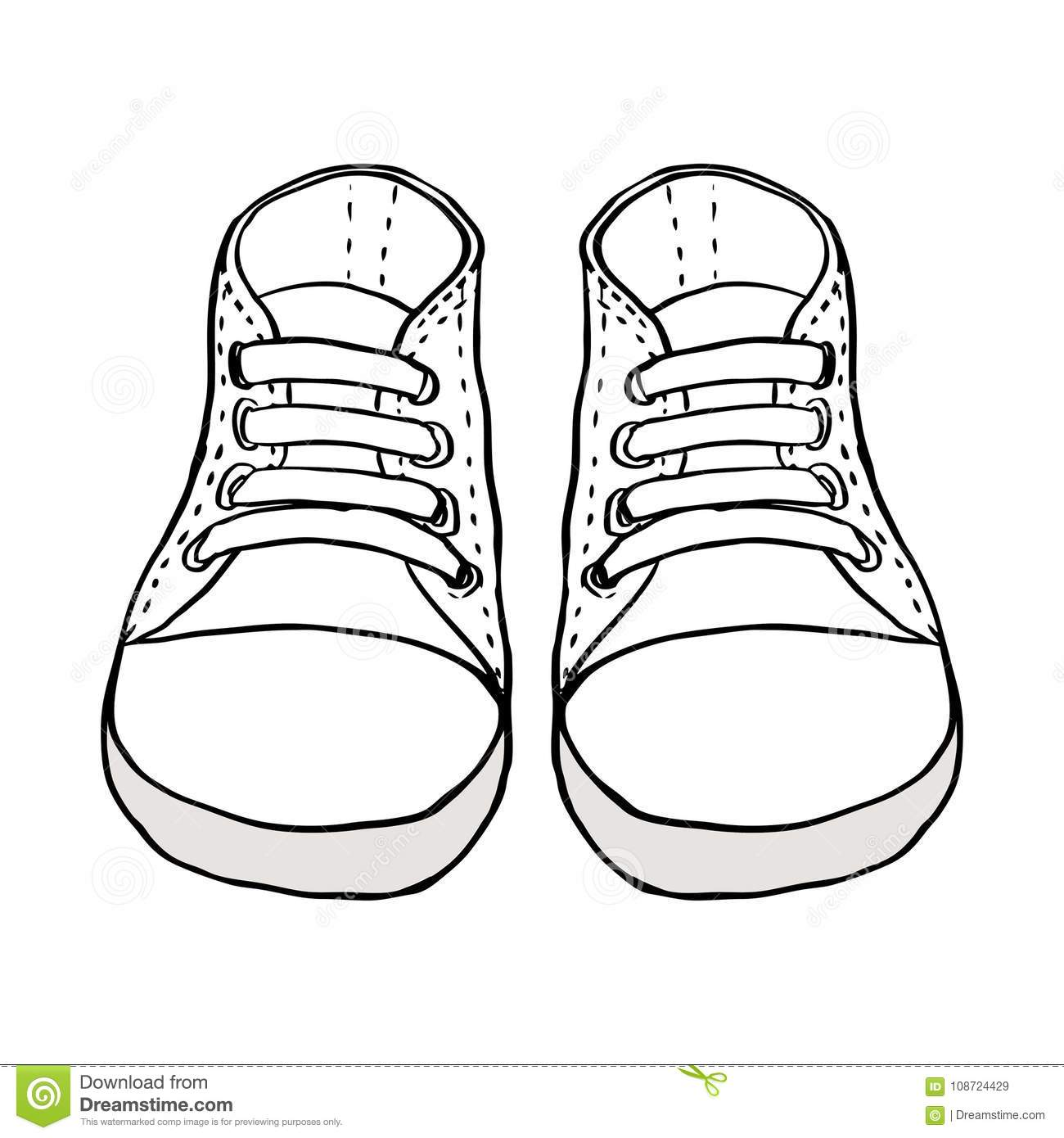 Sketch Illustration Of Kids Shoes Isolated On White Stock