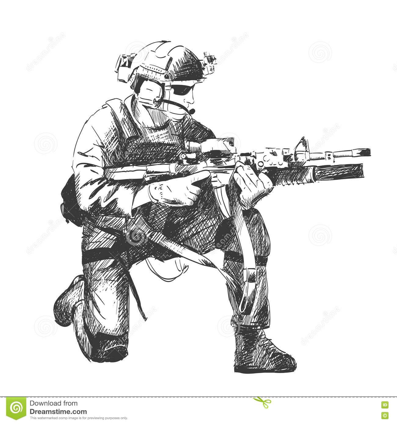 Sketch Illustration Of A Sol R Kneel Down Aiming A