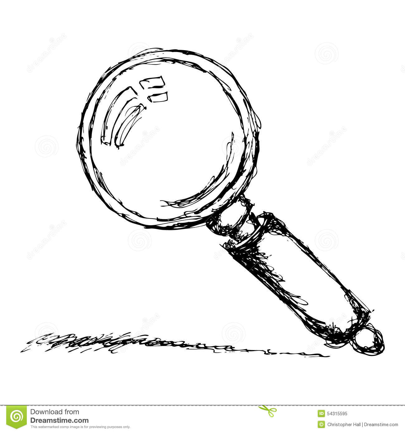 Sketch Of A Magnifying Glass Stock Vector