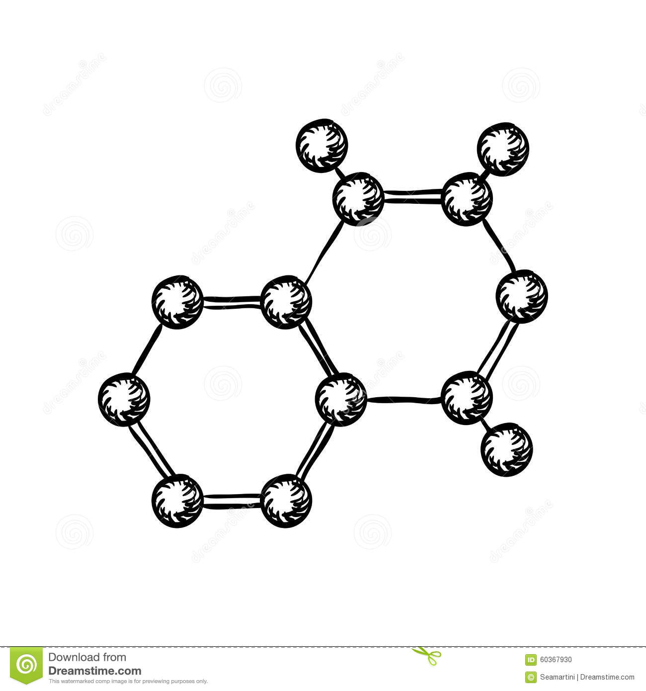 Sketch Of Molecular Model With Atoms And Bonds Stock