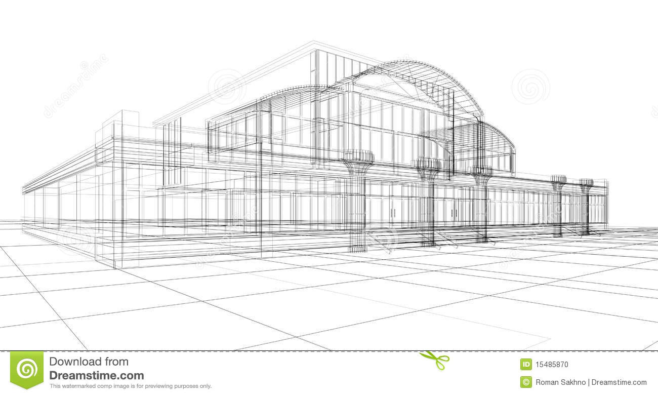 Sketch Of Office Building Stock Photo