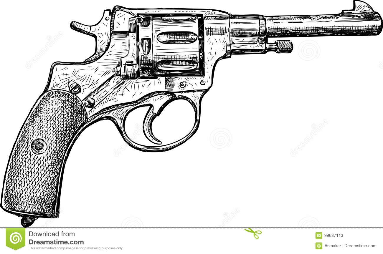 Sketch Of An Old Revolver Stock Vector Illustration Of