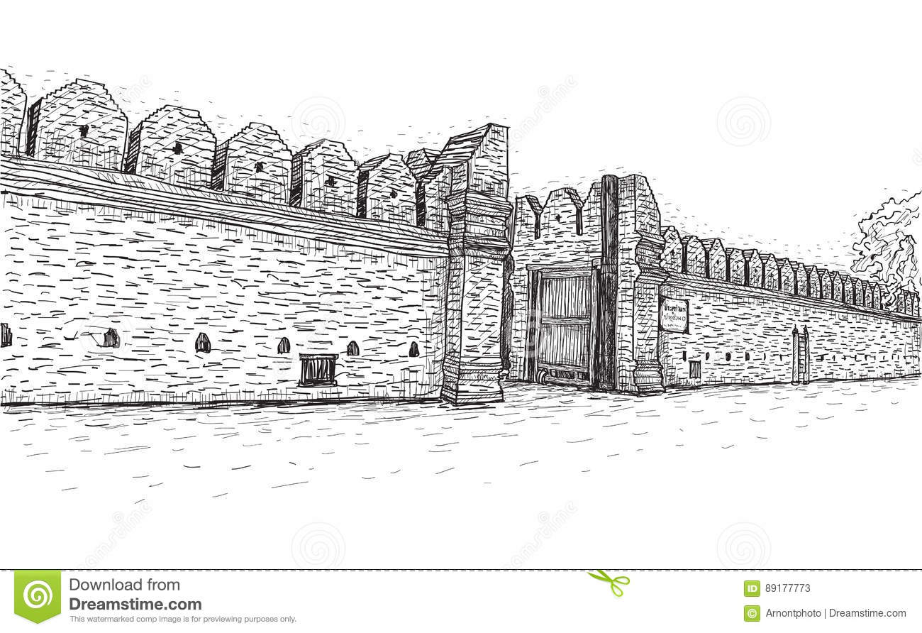 Sketch Of Old Wall Gate Tha Phae Gate In Thailand
