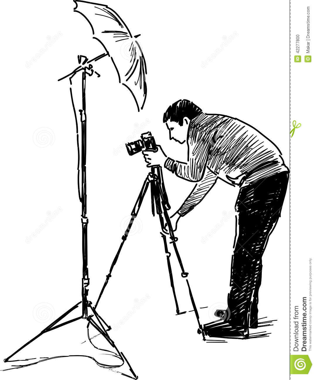 Sketch Of A Photographer At Work Stock Vector