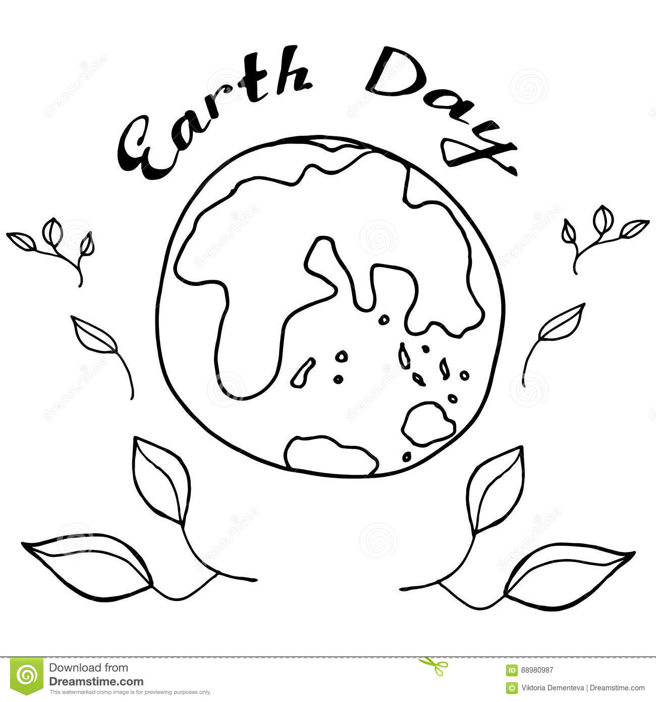Sketch Planet Earth In Black And White Colours To