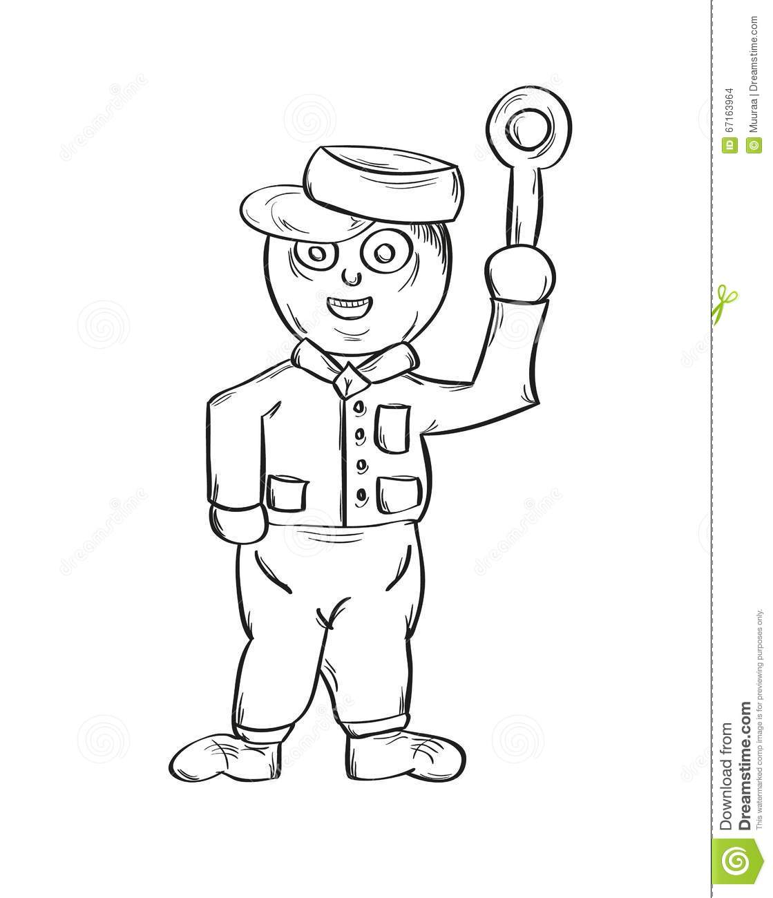 Sketch Of The Policeman Stock Vector