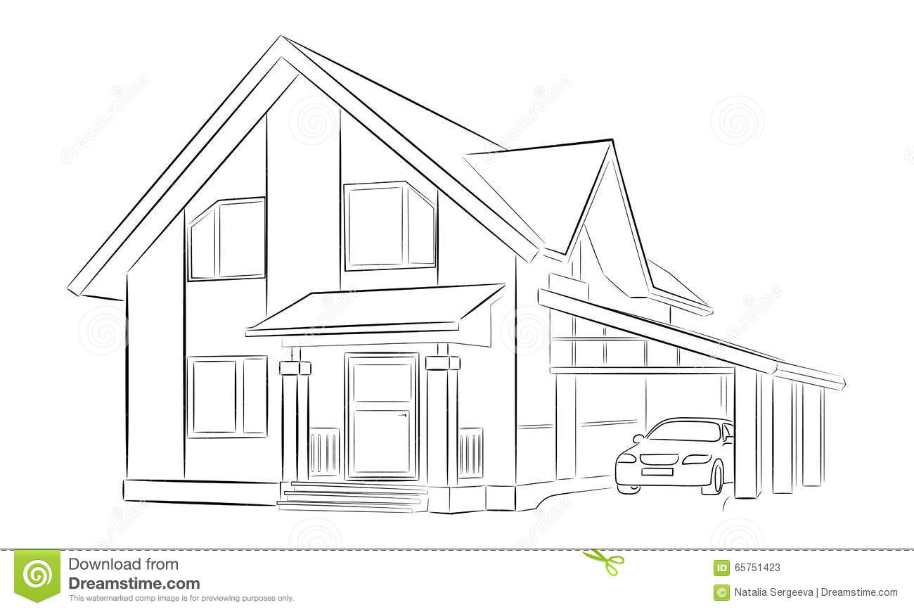 Sketch Of A Private House Stock Illustration Illustration