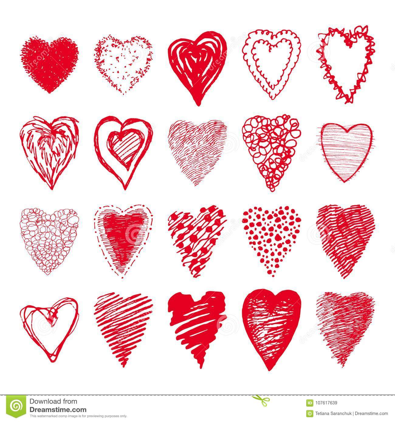 Sketch Set Of Red Hearts Shapes Valentines Design Stock