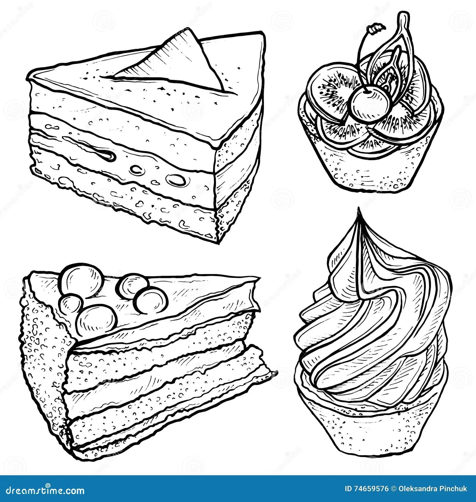 Sketch Set Of Tart Slice Of Cake Stock Vector