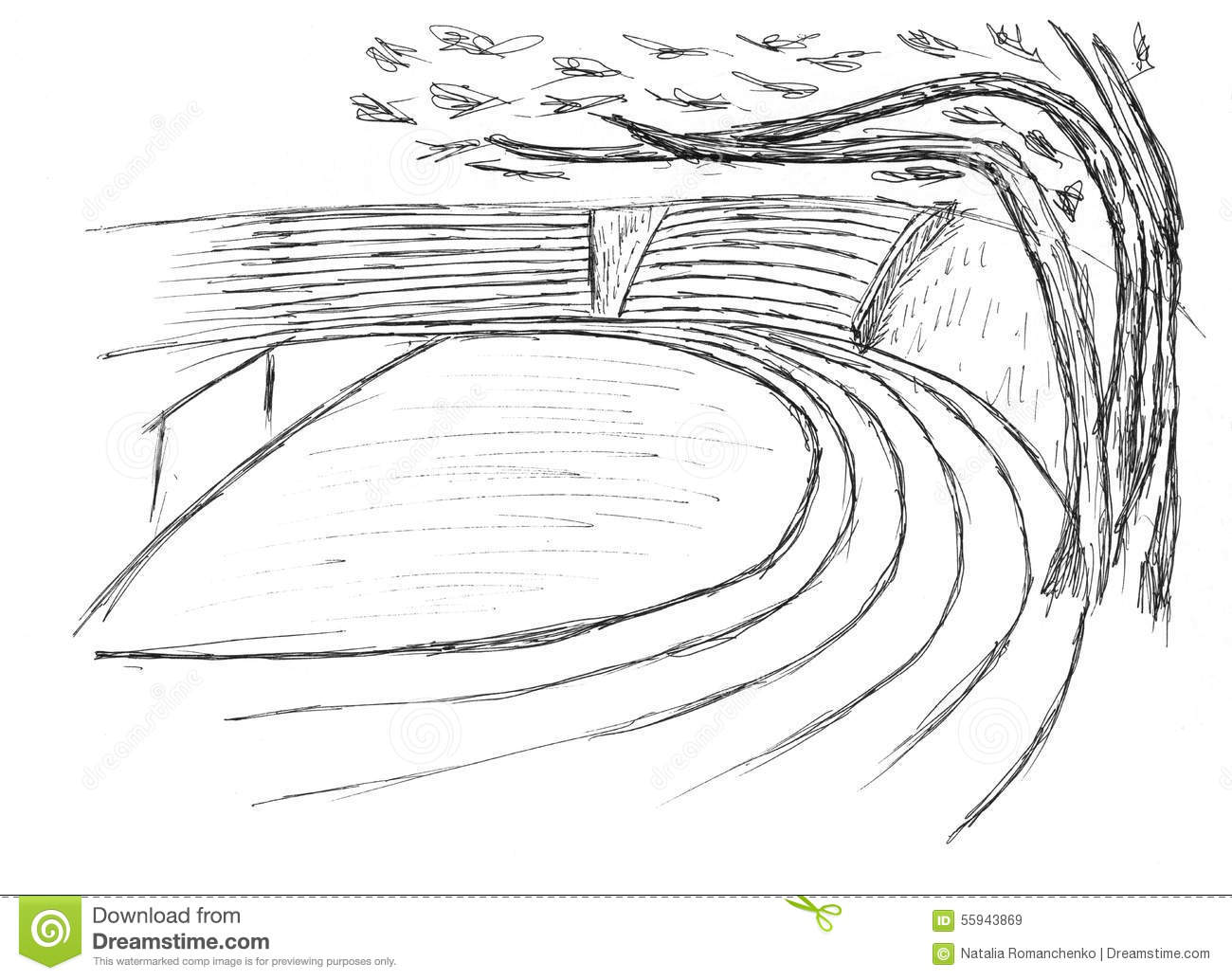 Sketch Of A Stadium Stock Illustration Illustration Of