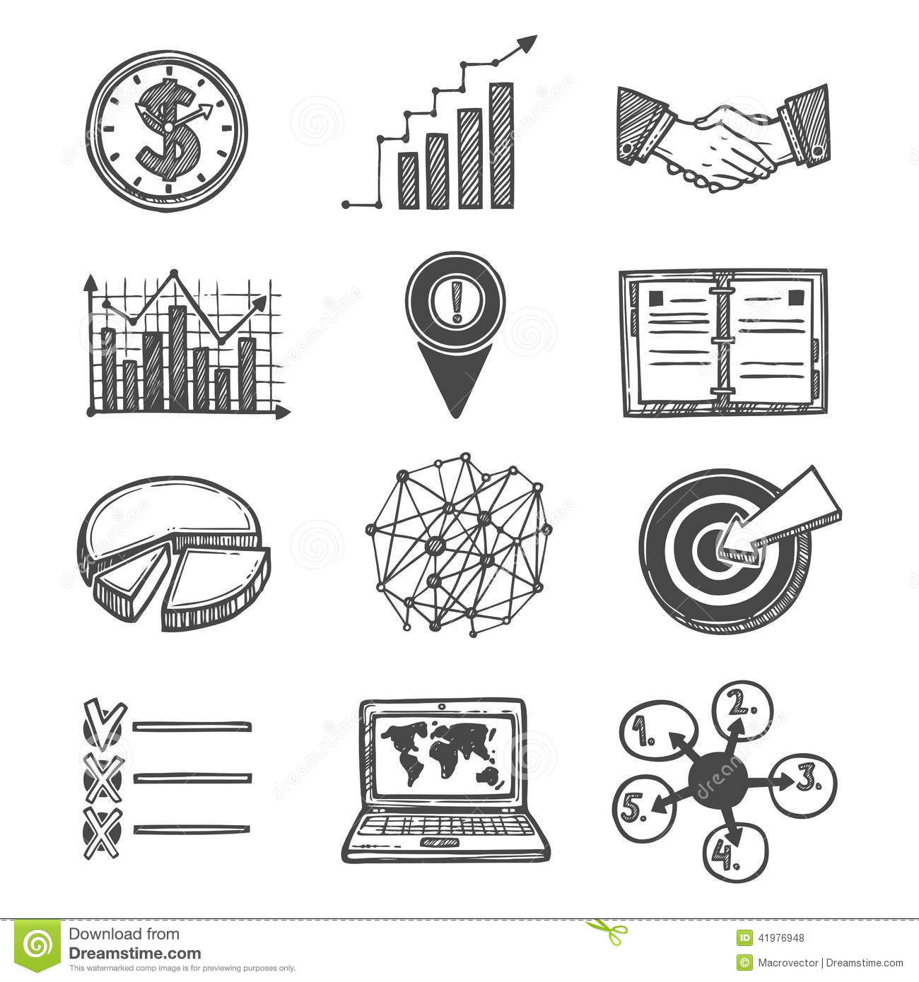 Sketch Strategy And Management Icons Stock Vector