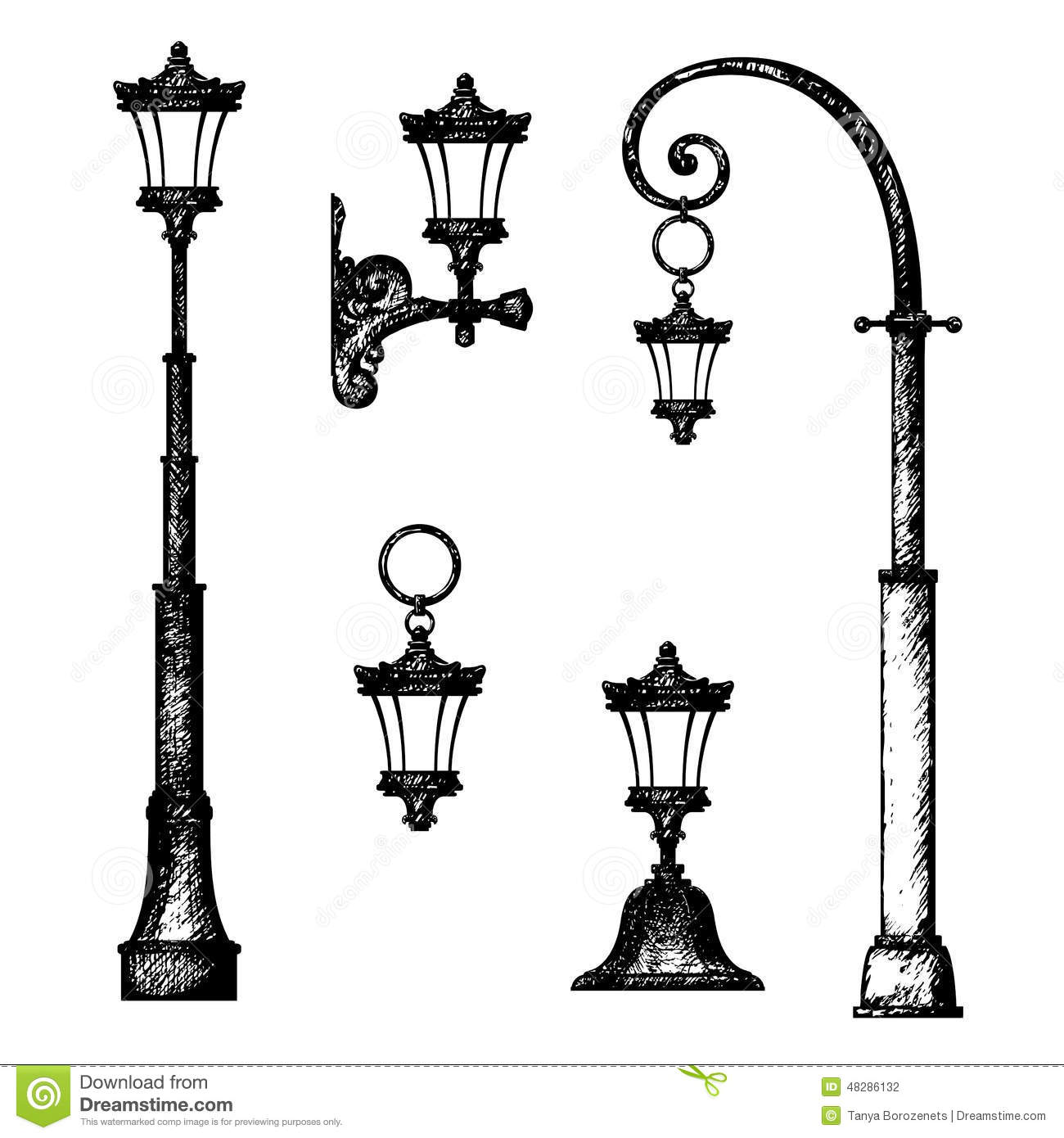 Sketch Of Street Lamp Stock Illustration Illustration Of