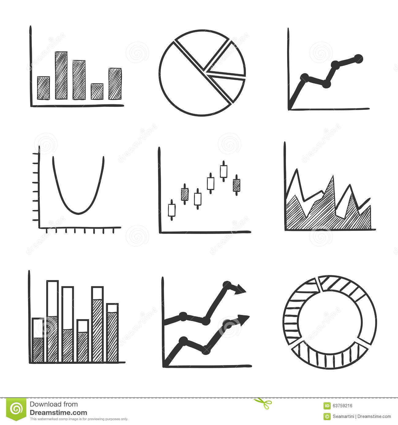 Sketch Style Icons Of Business Charts And Graphs Stock
