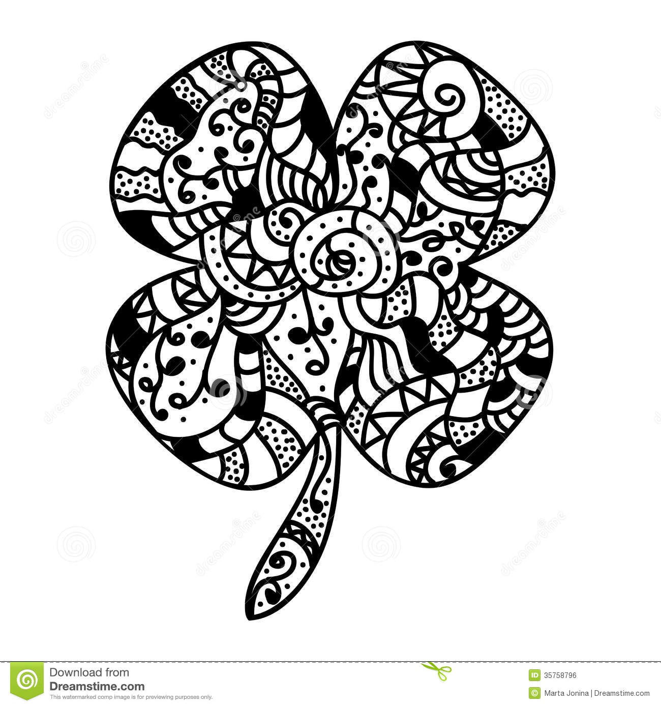 Sketch Style Lucky Clover Royalty Free Stock Image