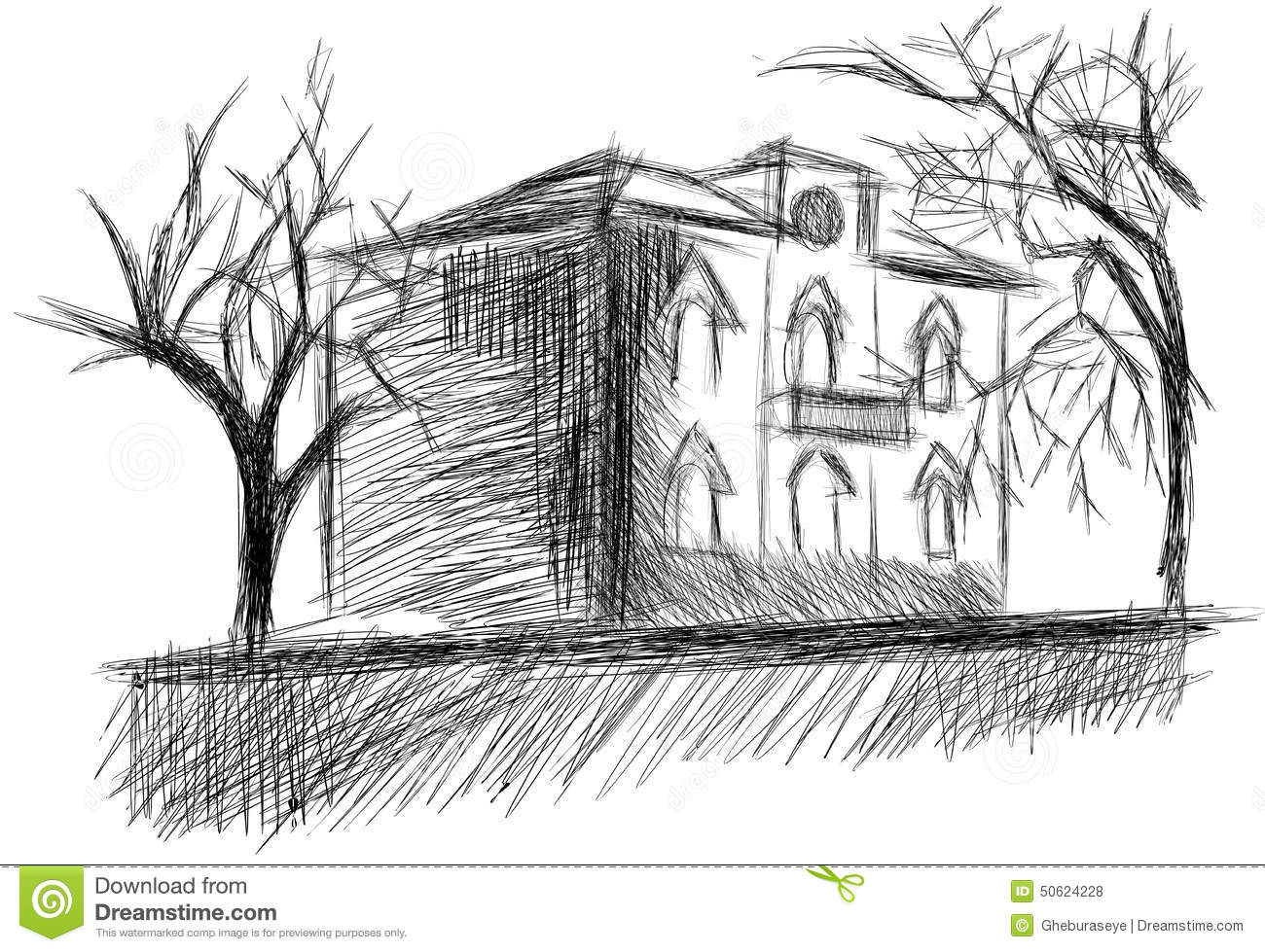 Sketch Of A Stylized House Isolated Stock Vector