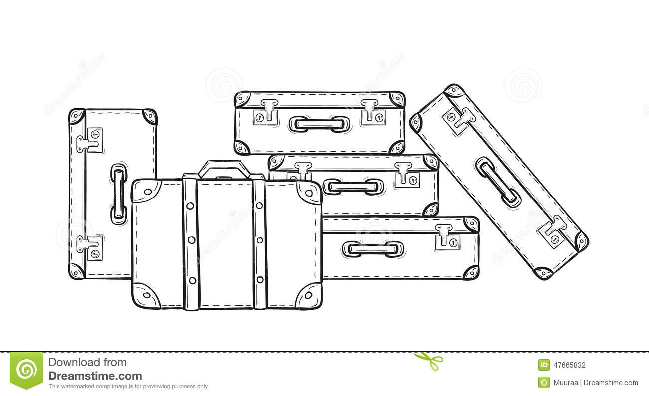 Sketch Of The Suitcases Stock Vector Illustration Of