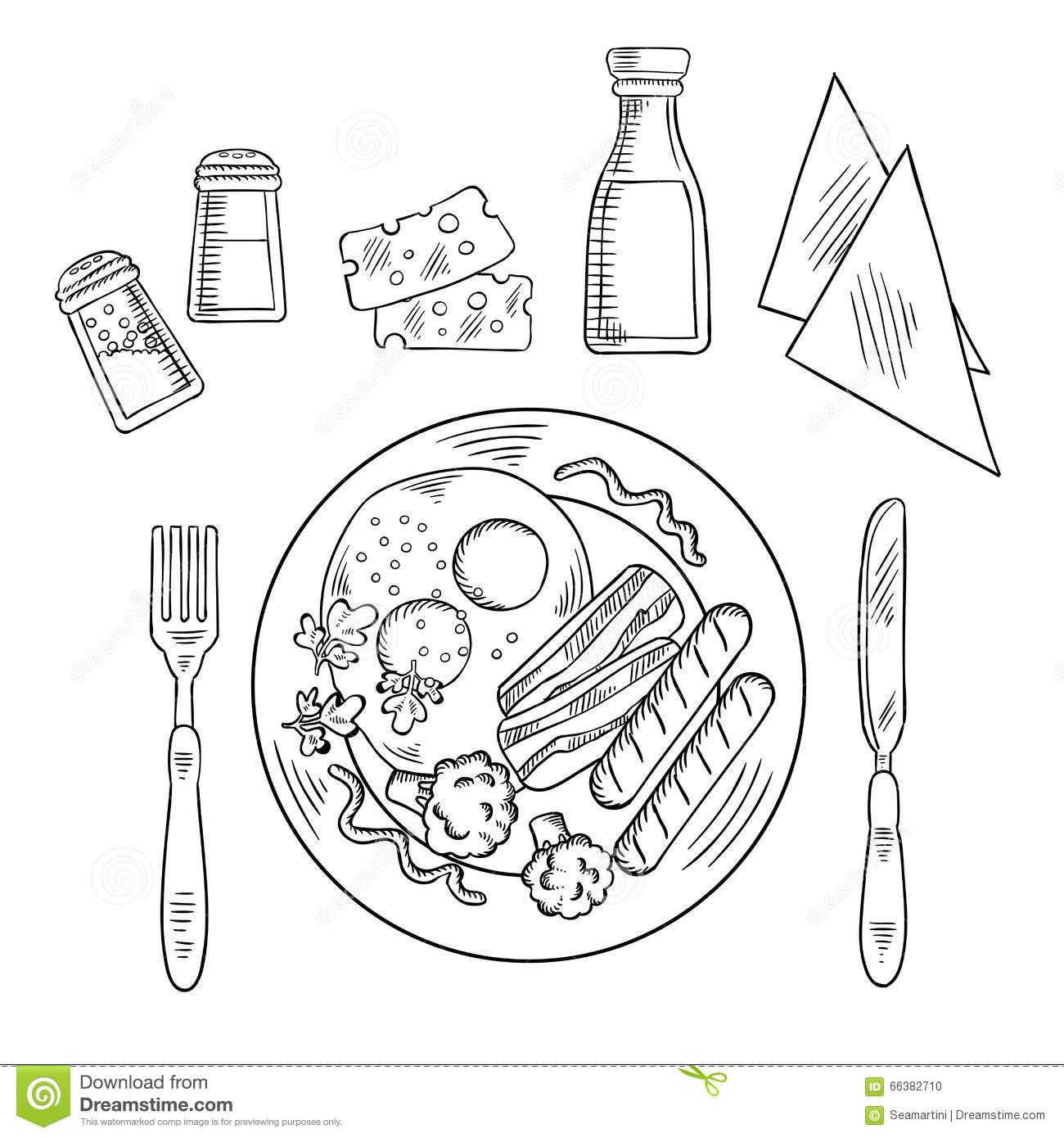 Sketch Of Tasty Cooked Dinner On A Plate Stock Vector