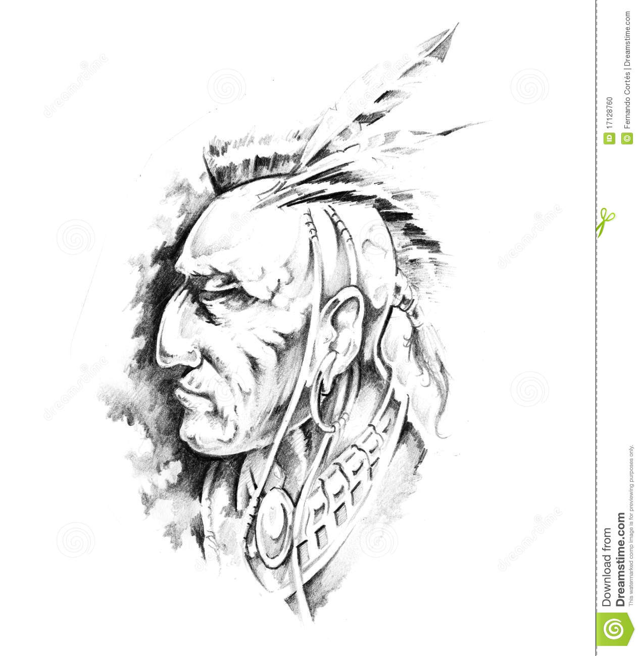 Sketch Of Tattoo Art Indian Head Stock Photo