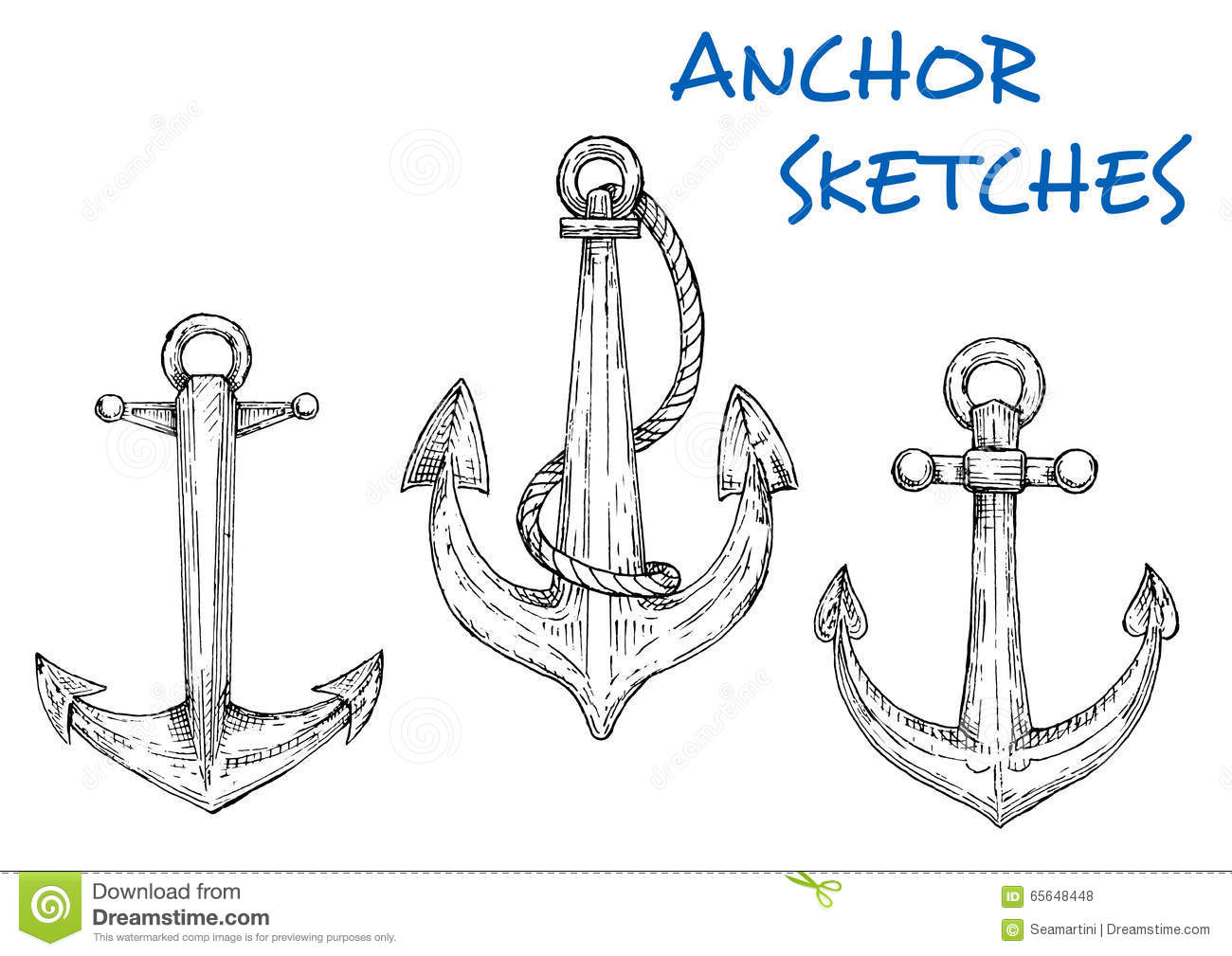 Sketch Of Vintage Nautical Anchors With Rope Stock Vector