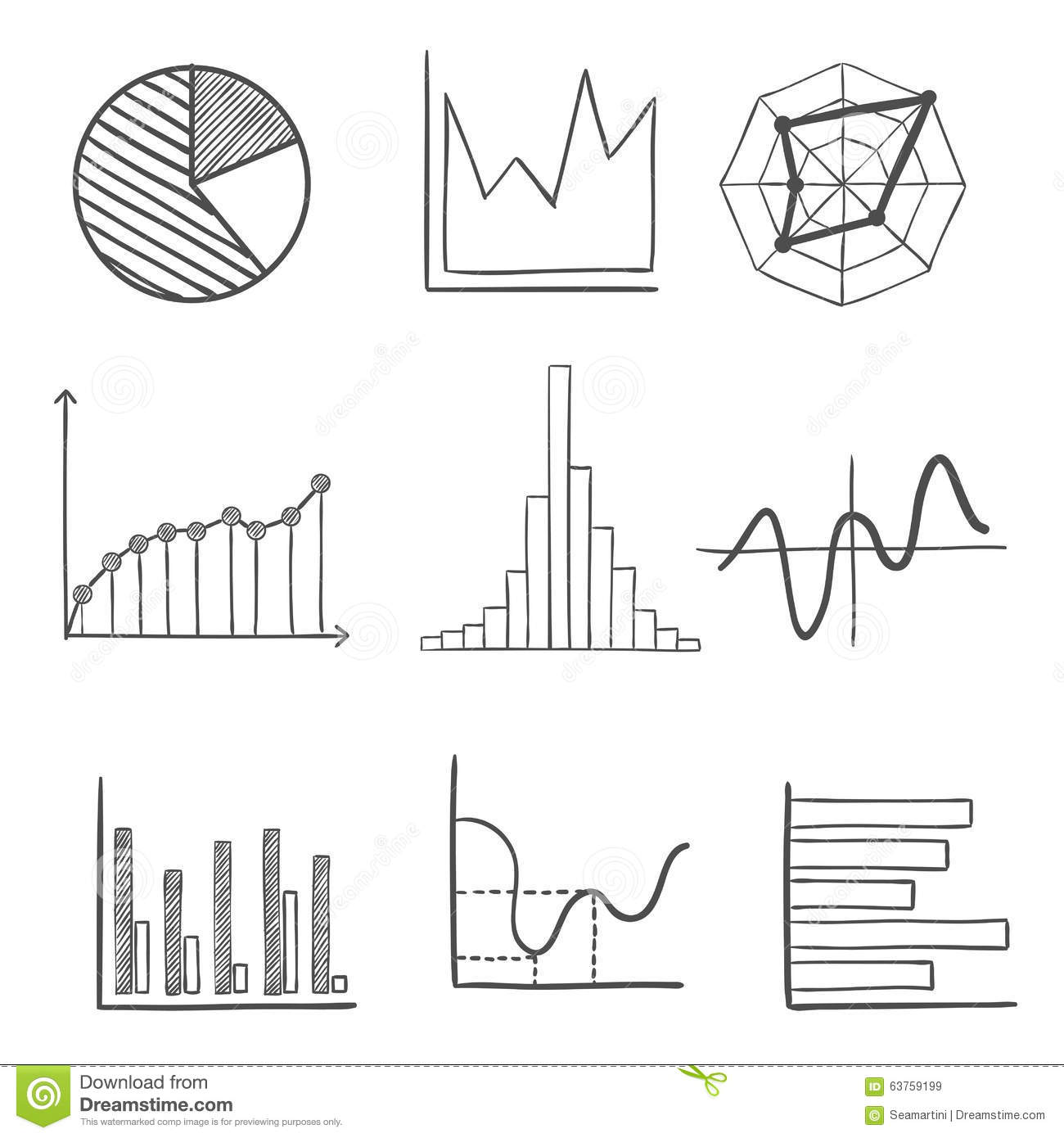 Sketched Business Graphs And Charts Stock Vector