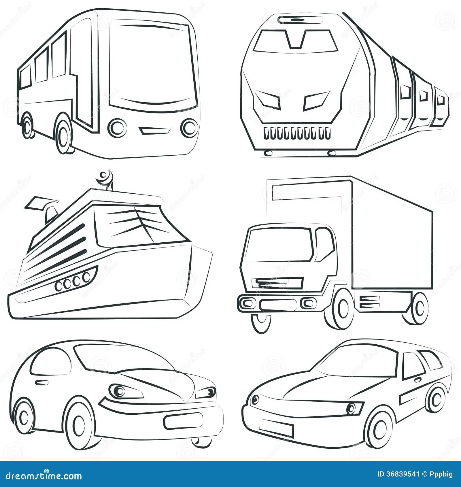 Sketched Car Truck Set Transportation Stock Image
