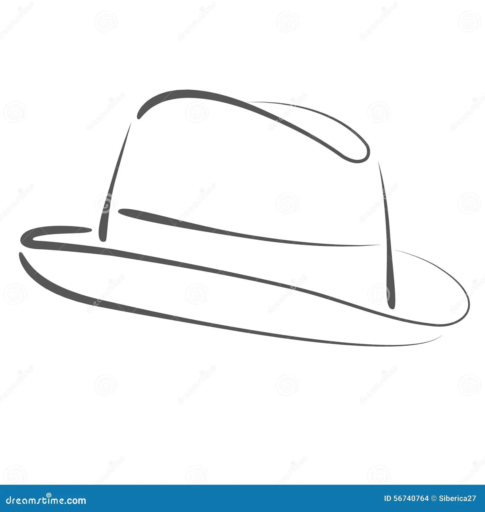 Sketched Man S Fedora Hat Stock Illustration