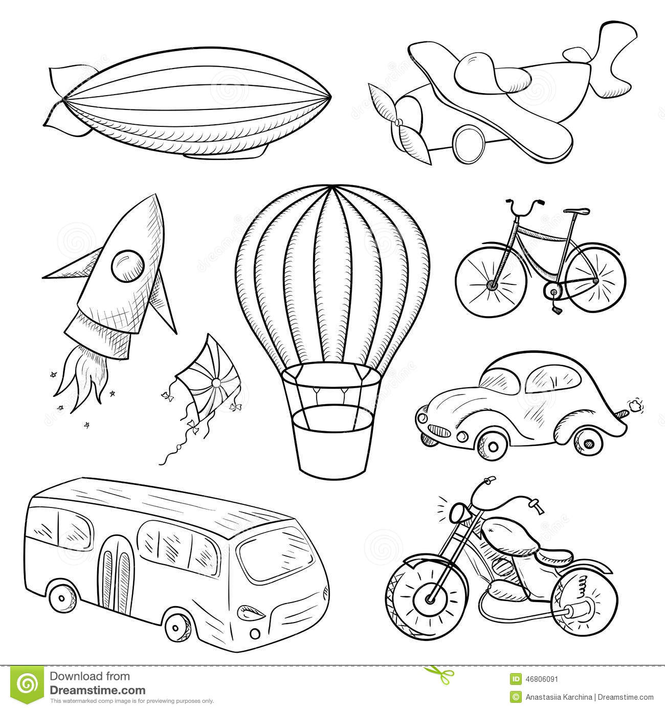 Sketches Means Of Transport Vector Illustration Stock