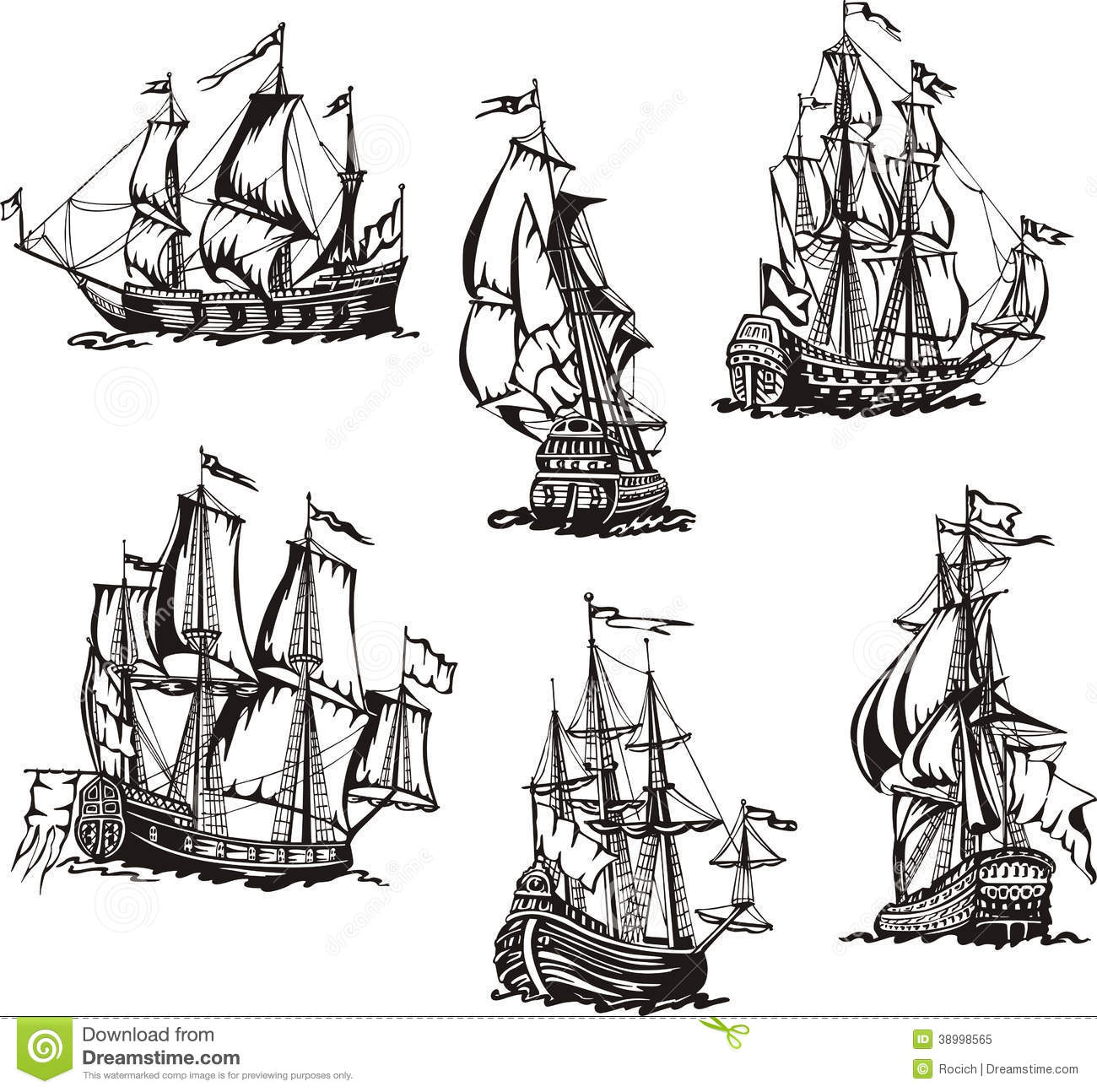 Sketches Of Sailing Ships Stock Vector Illustration Of