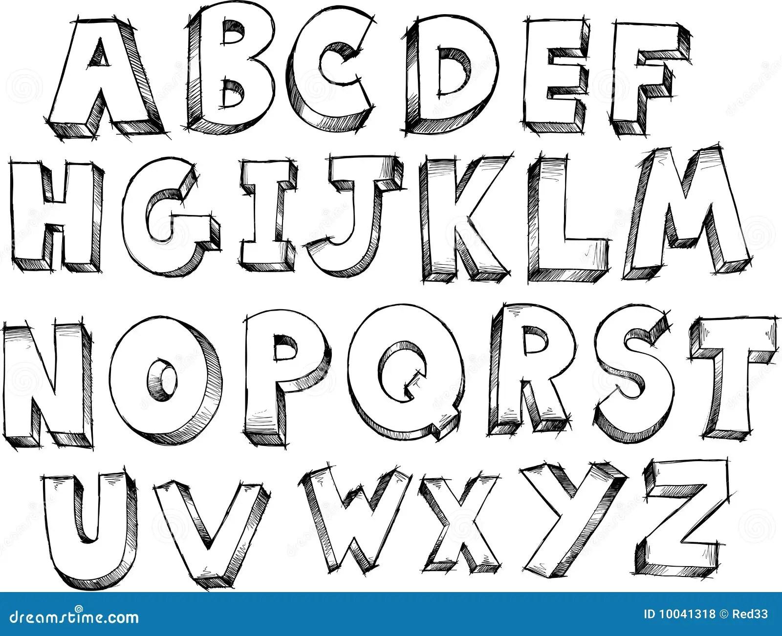 Sketchy Alphabet Vector Royalty Free Stock Photos