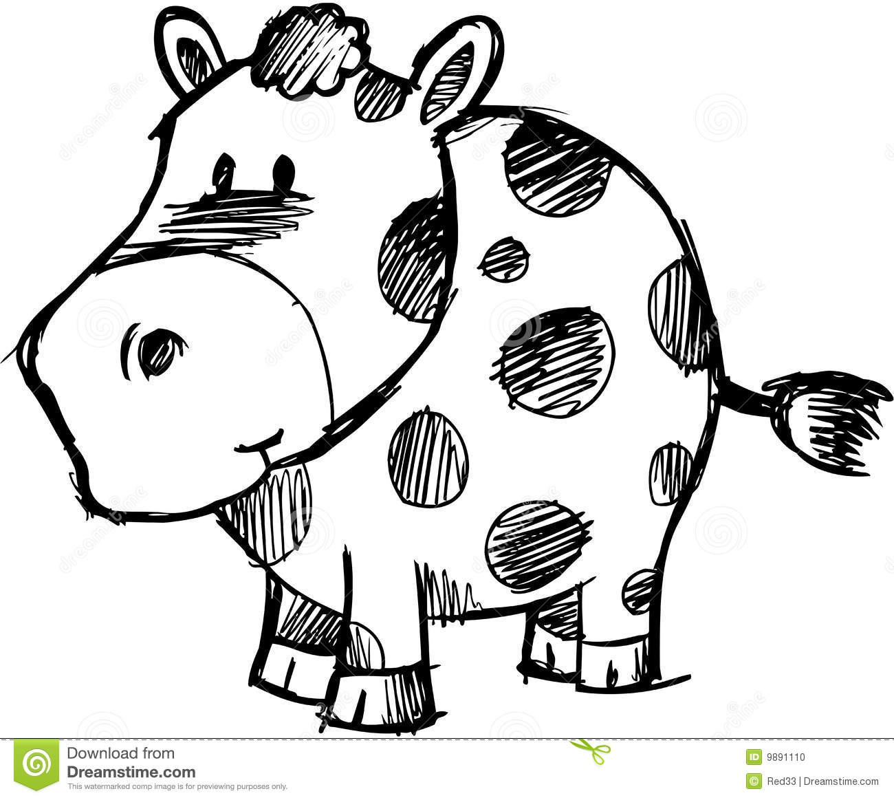 Sketchy Cow Vector Illustration Vector Illustration
