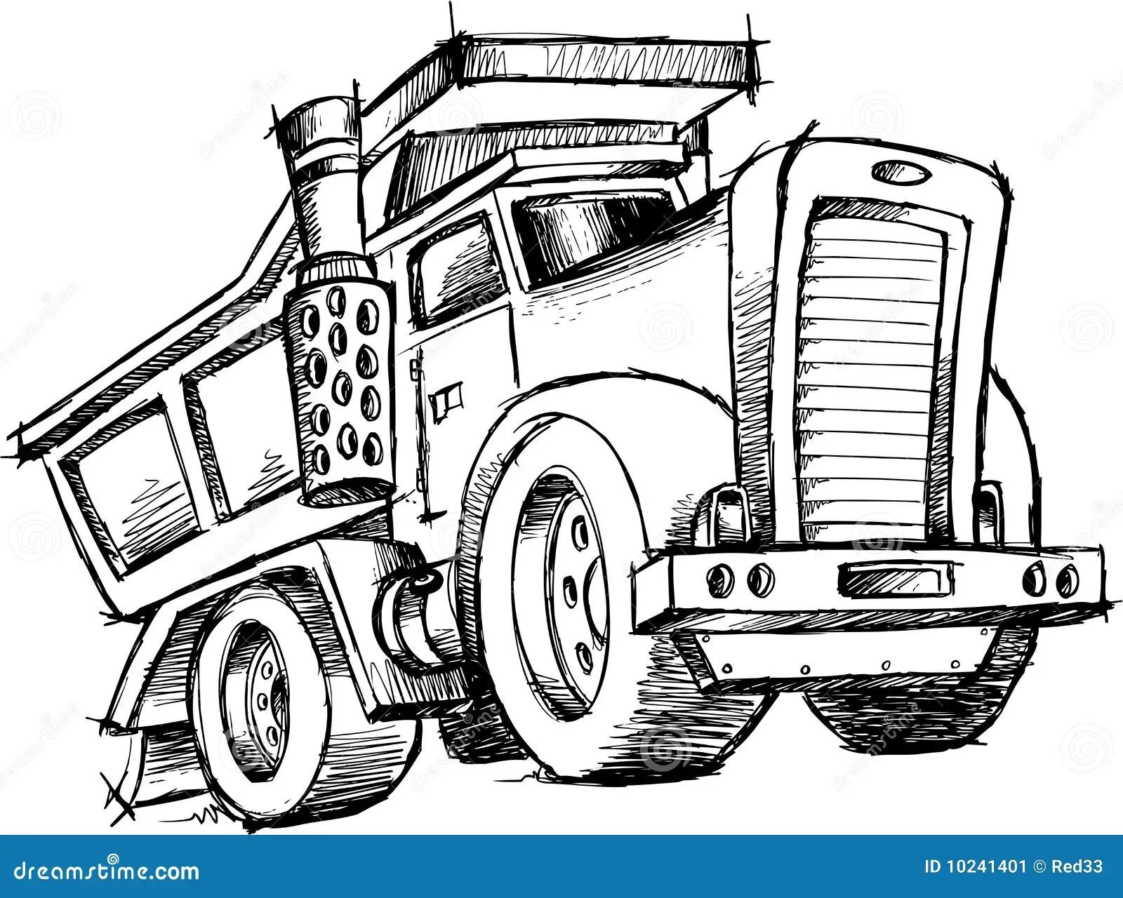 Sketchy Dump Truck Vector Stock Vector Illustration Of