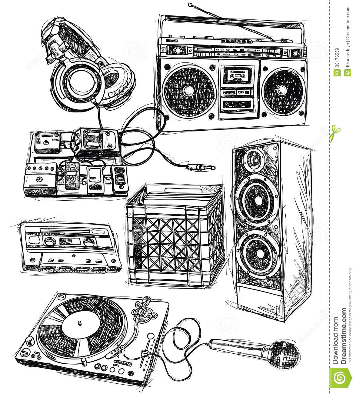 Sketchy Music Elements Royalty Free Stock Images