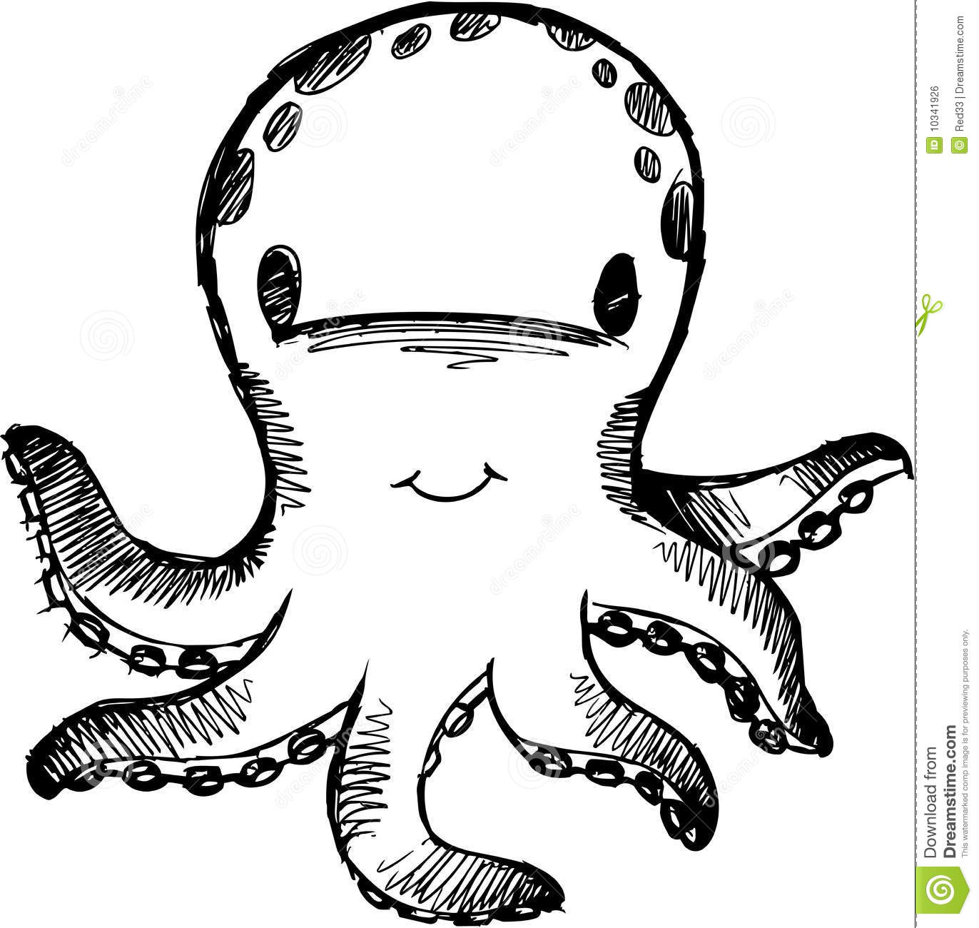 Sketchy Octopus Vector Illustration Royalty Free Stock