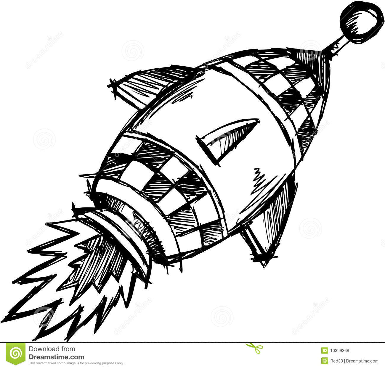 Sketchy Rocket Vector Illustration Royalty Free Stock
