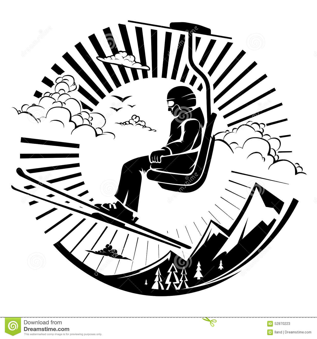 Skier Sitting At Ski Lift In High Mountains Stock Vector